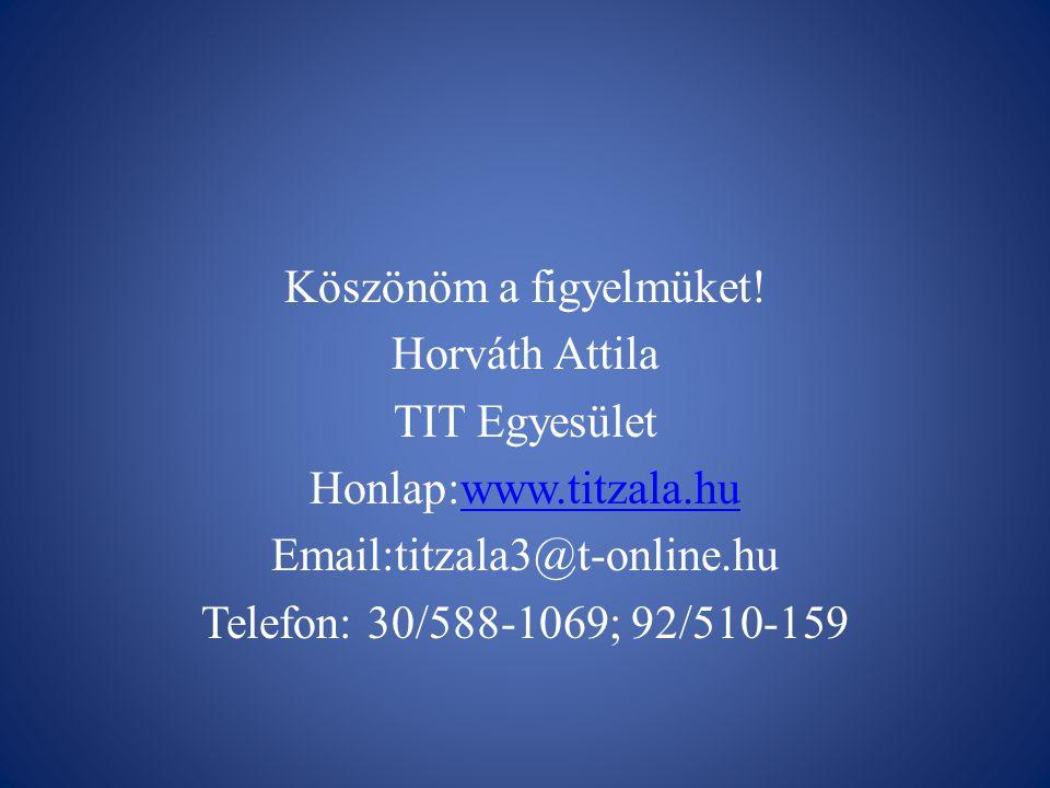 Köszönöm a figyelmüket! Horváth Attila TIT Egyesület Honlap:www.titzala.huwww.titzala.hu Email:titzala3@t-online.hu Telefon: 30/588-1069; 92/510-159