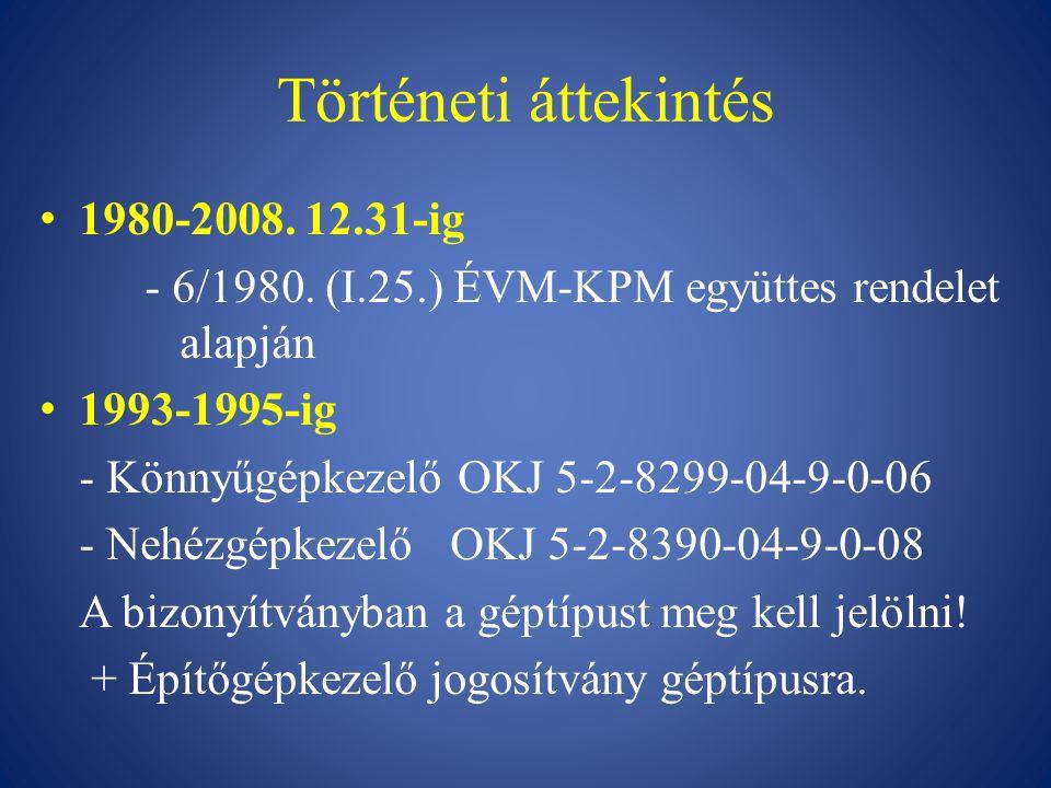 Történeti áttekintés 1980-2008. 12.31-ig - 6/1980. (I.25.) ÉVM-KPM együttes rendelet alapján 1993-1995-ig - Könnyűgépkezelő OKJ 5-2-8299-04-9-0-06 - N