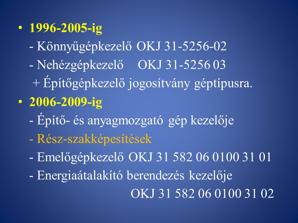 1996-2005-ig - Könnyűgépkezelő OKJ 31-5256-02 - Nehézgépkezelő OKJ 31-5256 03 + Építőgépkezelő jogosítvány géptípusra. 2006-2009-ig - Építő- és anyagm