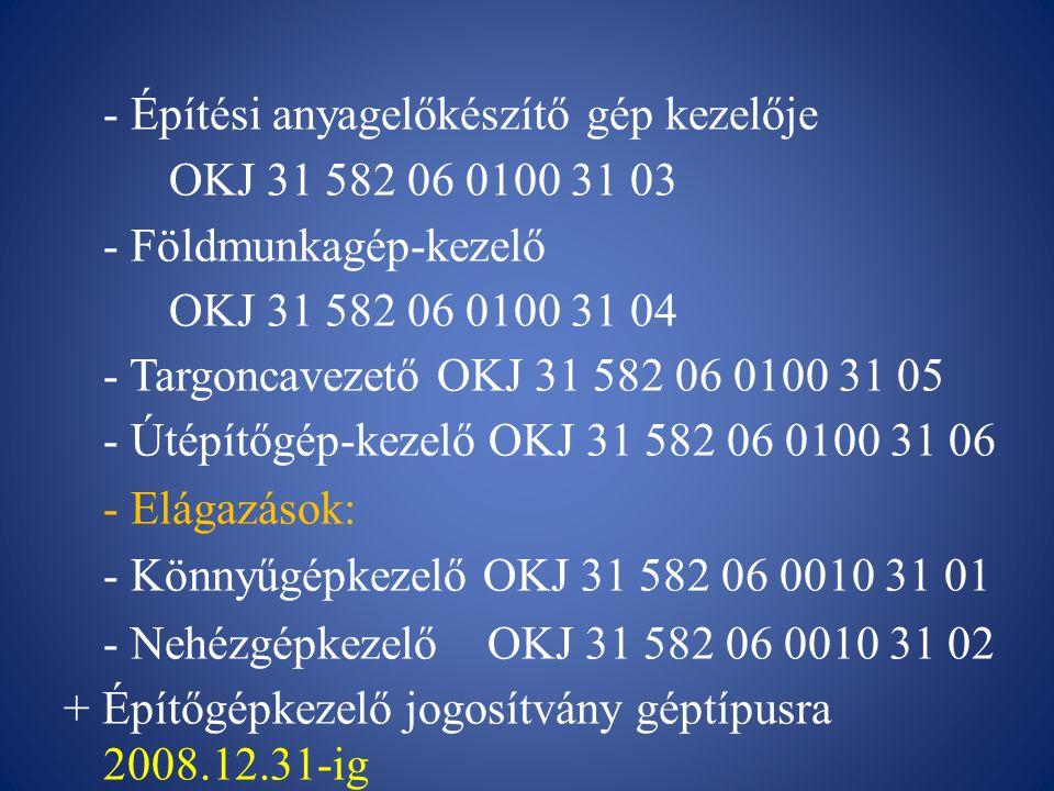 2010-2011-ig - Építő- és anyagmozgató gép kezelője - Emelőgépkezelő (kivéve targonca) OKJ 31 582 06 0010 31 01 - Energiaátalakító-berendezés kezelője OKJ 31 582 06 0010 31 02 - Építési anyagelőkészítő gép kezelője OKJ 31 582 06 0010 31 03 - Földmunka-, rakodó- és szállítógép kezelő OKJ 31 582 06 0010 31 04 - Targoncavezető OKJ 31 582 06 0010 31 05 - Útépítő-, és karbantartógép kezelő OKJ 31 582 06 0010 31 06 - Alapozás, közmű- és fenntartási gép kezelője OKJ 31 582 06 0010 31 07