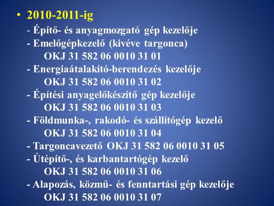 2010-2011-ig - Építő- és anyagmozgató gép kezelője - Emelőgépkezelő (kivéve targonca) OKJ 31 582 06 0010 31 01 - Energiaátalakító-berendezés kezelője