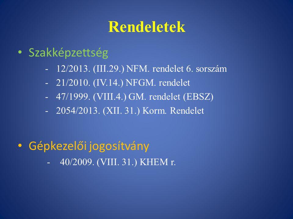 Rendeletek Szakképzettség -12/2013. (III.29.) NFM. rendelet 6. sorszám -21/2010. (IV.14.) NFGM. rendelet -47/1999. (VIII.4.) GM. rendelet (EBSZ) -2054