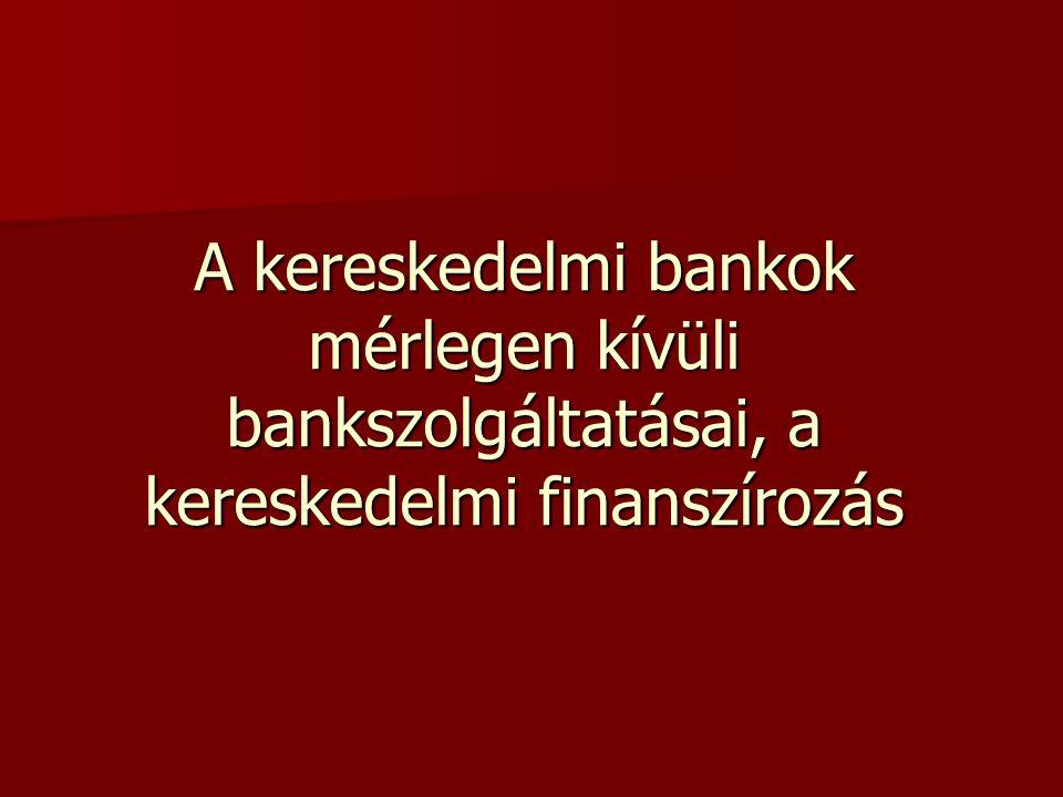 Mérlegen kívüli bankszolgáltatások Két csoportra osztható: Banki kötelezettségvállalások Banki kötelezettségvállalások Bankszolgáltatások Bankszolgáltatások