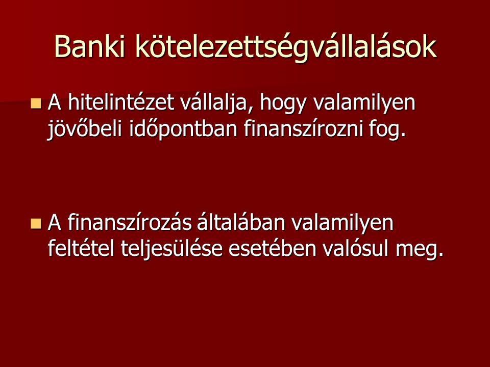 Banki kötelezettségvállalások A hitelintézet vállalja, hogy valamilyen jövőbeli időpontban finanszírozni fog.