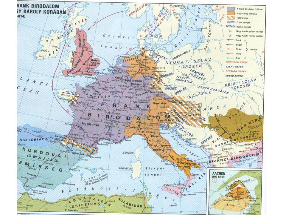 Központosító intézkedései Államszervezet: –Központ: Aachen –Felosztotta a területet grófságokra, határgrófságokra: élükön a grófok (comes) állnak –Őket ellenőrzi a titkos küldöttek: missusok Karoling reneszánszKaroling reneszánsz –Alkuin vezetésével egységesítette az írást (karoling minuscula) kancellária –Elrendelte az ügyek írásos intézését (kancellária) rendeletekkel egységesen –Írásos rendeletekkel egységesen irányította a birodalmat