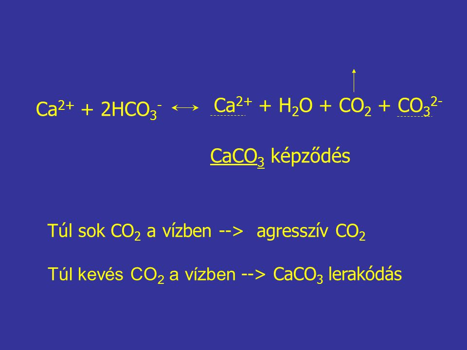 Ca 2+ + 2HCO 3 - Ca 2+ + H 2 O + CO 2 + CO 3 2- CaCO 3 képződés Túl sok CO 2 a vízben --> agresszív CO 2 Túl kevés CO 2 a vízben --> CaCO 3 lerakódás