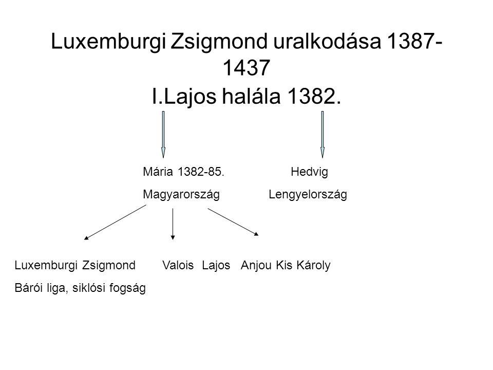 Luxemburgi Zsigmond uralkodása 1387- 1437 I.Lajos halála 1382. Mária 1382-85.Hedvig Magyarország Lengyelország Luxemburgi ZsigmondValois Lajos Anjou K