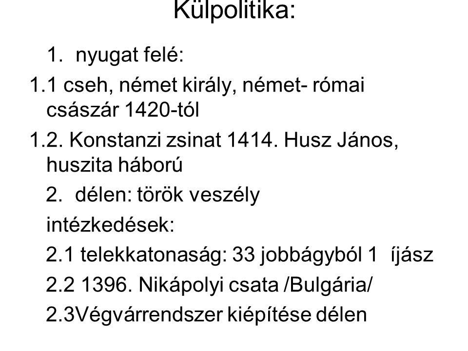 Külpolitika: 1. nyugat felé: 1.1 cseh, német király, német- római császár 1420-tól 1.2. Konstanzi zsinat 1414. Husz János, huszita háború 2. délen: tö