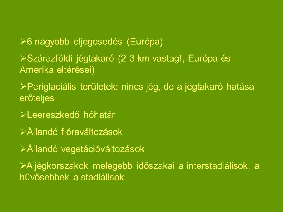  6 nagyobb eljegesedés (Európa)  Szárazföldi jégtakaró (2-3 km vastag!, Európa és Amerika eltérései)  Periglaciális területek: nincs jég, de a jégt