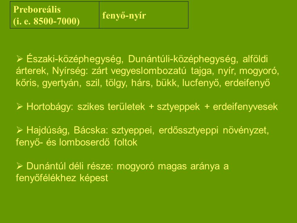  Északi-középhegység, Dunántúli-középhegység, alföldi árterek, Nyírség: zárt vegyeslombozatú tajga, nyír, mogyoró, kőris, gyertyán, szil, tölgy, hárs