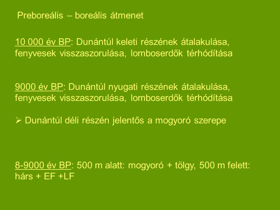 10 000 év BP: Dunántúl keleti részének átalakulása, fenyvesek visszaszorulása, lomboserdők térhódítása 9000 év BP: Dunántúl nyugati részének átalakulá