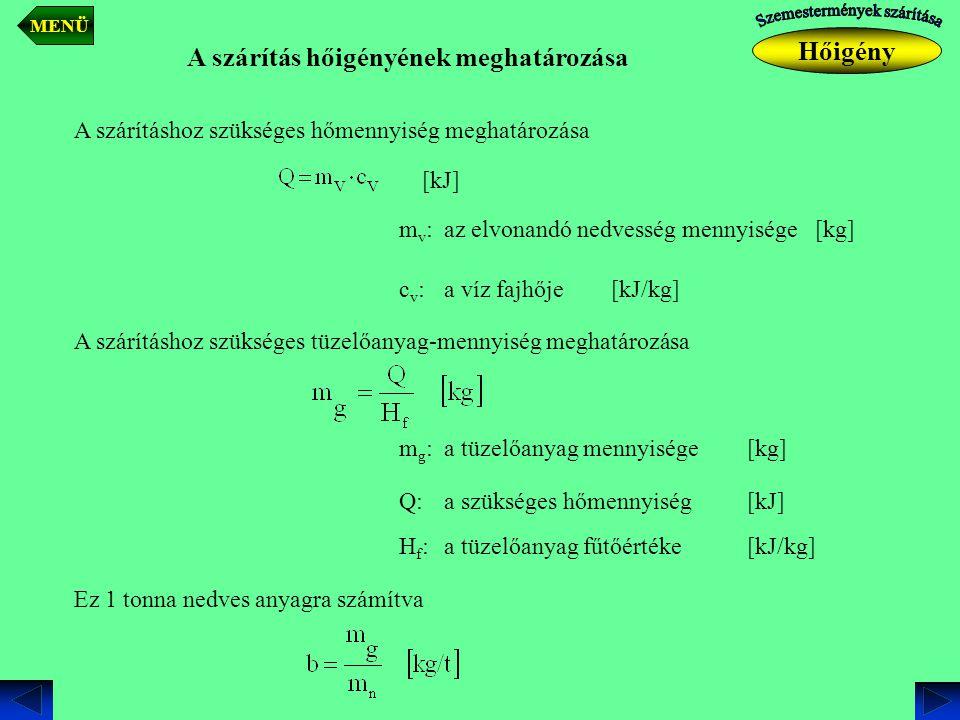 A szárítás hőigényének meghatározása mv:mv: A szárításhoz szükséges hőmennyiség meghatározása az elvonandó nedvesség mennyisége[kg] cv:cv:a víz fajhőj