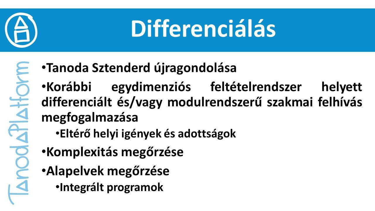 Differenciálás Tanoda Sztenderd újragondolása Korábbi egydimenziós feltételrendszer helyett differenciált és/vagy modulrendszerű szakmai felhívás megfogalmazása Eltérő helyi igények és adottságok Komplexitás megőrzése Alapelvek megőrzése Integrált programok