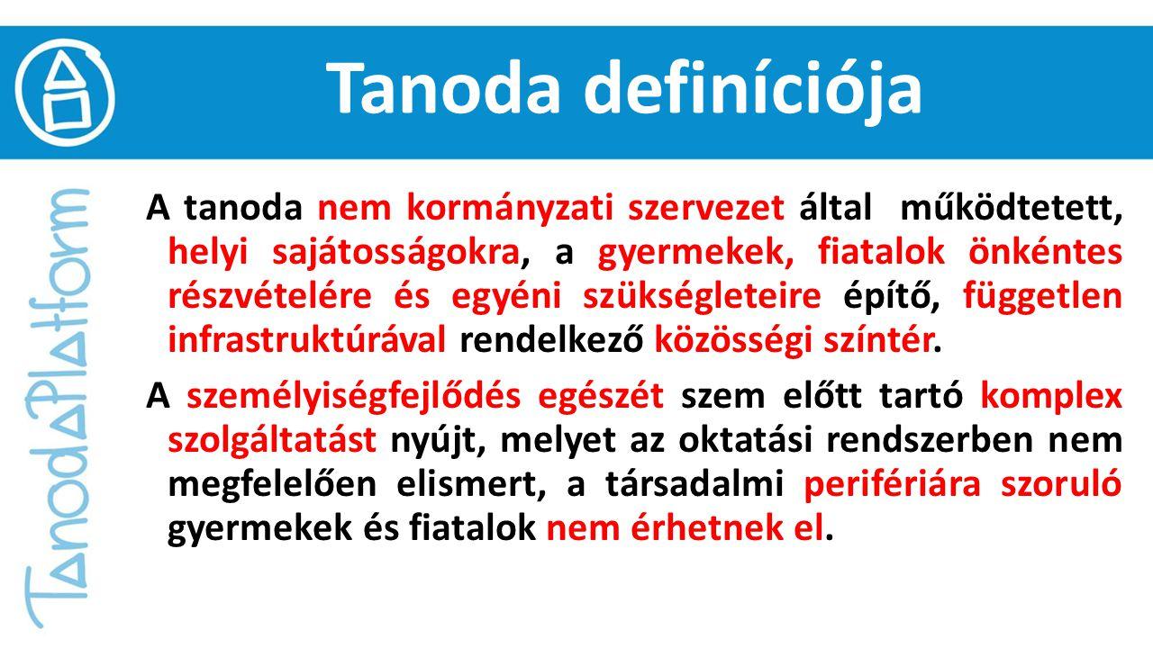 Tanoda definíciója A tanoda nem kormányzati szervezet által működtetett, helyi sajátosságokra, a gyermekek, fiatalok önkéntes részvételére és egyéni s