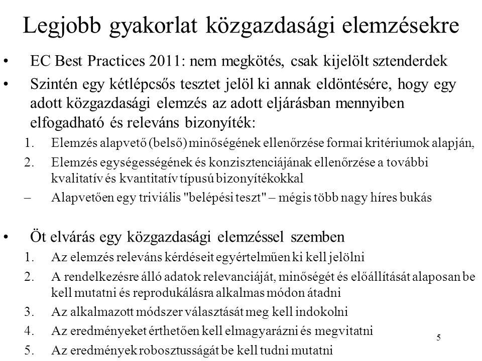 5 Legjobb gyakorlat közgazdasági elemzésekre EC Best Practices 2011: nem megkötés, csak kijelölt sztenderdek Szintén egy kétlépcsős tesztet jelöl ki annak eldöntésére, hogy egy adott közgazdasági elemzés az adott eljárásban mennyiben elfogadható és releváns bizonyíték: 1.Elemzés alapvető (belső) minőségének ellenőrzése formai kritériumok alapján, 2.Elemzés egységességének és konzisztenciájának ellenőrzése a további kvalitatív és kvantitatív típusú bizonyítékokkal –Alapvetően egy triviális belépési teszt – mégis több nagy híres bukás Öt elvárás egy közgazdasági elemzéssel szemben 1.Az elemzés releváns kérdéseit egyértelműen ki kell jelölni 2.A rendelkezésre álló adatok relevanciáját, minőségét és előállítását alaposan be kell mutatni és reprodukálásra alkalmas módon átadni 3.Az alkalmazott módszer választását meg kell indokolni 4.Az eredményeket érthetően kell elmagyarázni és megvitatni 5.Az eredmények robosztusságát be kell tudni mutatni