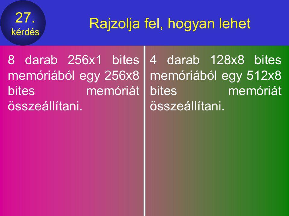26. kérdés Egy képzeletbeli számítógép lapozásos memóriakezelést használ (a memória byte szervezésű). a laptábla teljes mérete 1 Kbyte és egy lap mére