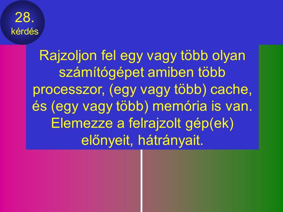 27. kérdés Rajzolja fel, hogyan lehet 8 darab 256x1 bites memóriából egy 256x8 bites memóriát összeállítani. 4 darab 128x8 bites memóriából egy 512x8