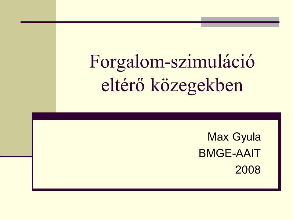 Forgalom-szimuláció eltérő közegekben Max Gyula BMGE-AAIT 2008