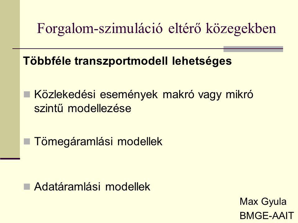 Forgalom-szimuláció eltérő közegekben Max Gyula BMGE-AAIT Többféle transzportmodell lehetséges Közlekedési események makró vagy mikró szintű modellezé