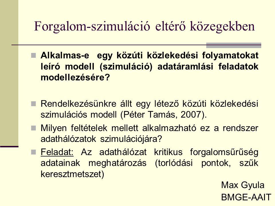 Forgalom-szimuláció eltérő közegekben Max Gyula BMGE-AAIT Alkalmas-e egy közúti közlekedési folyamatokat leíró modell (szimuláció) adatáramlási felada