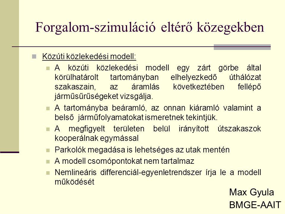 Forgalom-szimuláció eltérő közegekben Max Gyula BMGE-AAIT Közúti közlekedési modell: A közúti közlekedési modell egy zárt görbe által körülhatárolt tartományban elhelyezkedő úthálózat szakaszain, az áramlás következtében fellépő járműsűrűségeket vizsgálja.