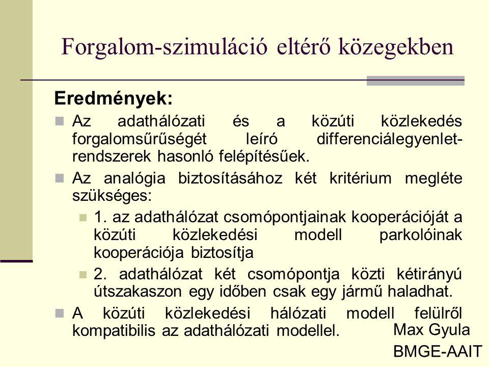 Forgalom-szimuláció eltérő közegekben Max Gyula BMGE-AAIT Eredmények: Az adathálózati és a közúti közlekedés forgalomsűrűségét leíró differenciálegyen