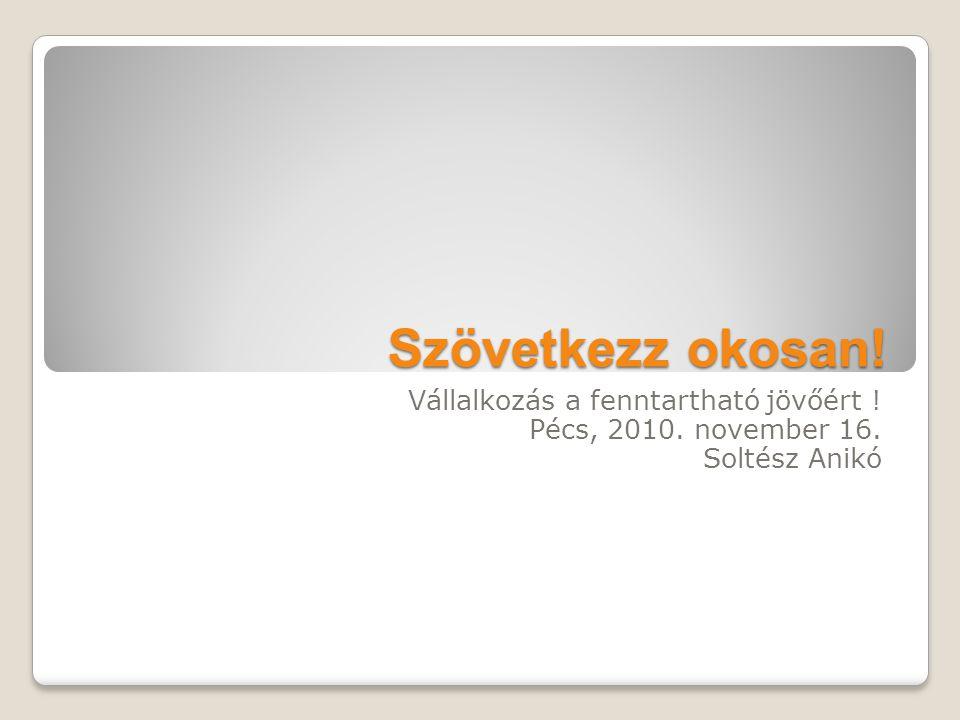 Szövetkezz okosan! Vállalkozás a fenntartható jövőért ! Pécs, 2010. november 16. Soltész Anikó
