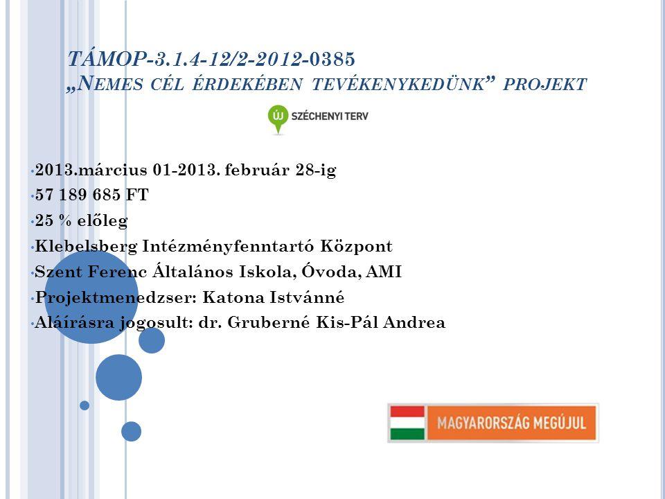 """TÁMOP-3.1.4-12/2-2012- 0385 """"N EMES CÉL ÉRDEKÉBEN TEVÉKENYKEDÜNK PROJEKT 2013.március 01-2013."""