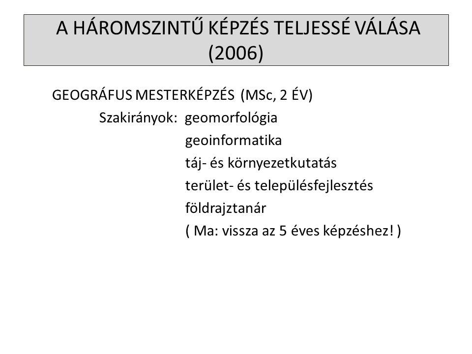 GEOGRÁFUS MESTERKÉPZÉS (MSc, 2 ÉV) Szakirányok: geomorfológia geoinformatika táj- és környezetkutatás terület- és településfejlesztés földrajztanár (