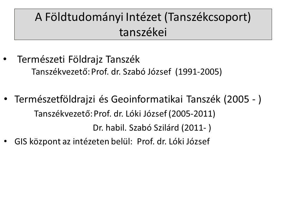 A Földtudományi Intézet (Tanszékcsoport) tanszékei Természetföldrajzi és Geoinformatikai Tanszék (2005 - ) Tanszékvezető: Prof. dr. Lóki József (2005-