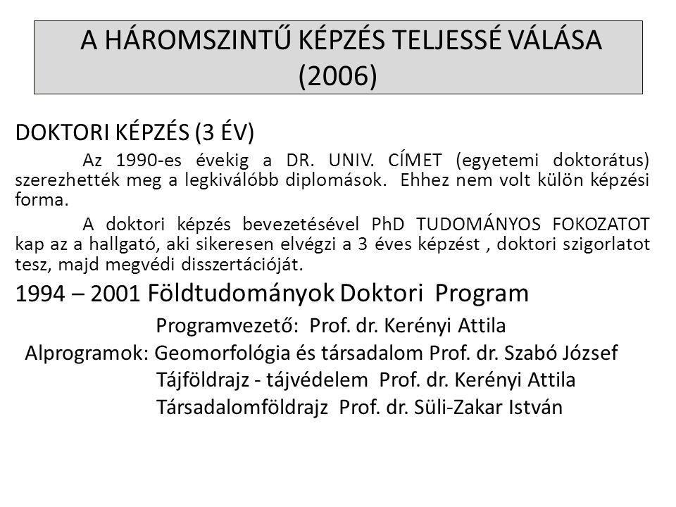 DOKTORI KÉPZÉS (3 ÉV) Az 1990-es évekig a DR. UNIV. CÍMET (egyetemi doktorátus) szerezhették meg a legkiválóbb diplomások. Ehhez nem volt külön képzés