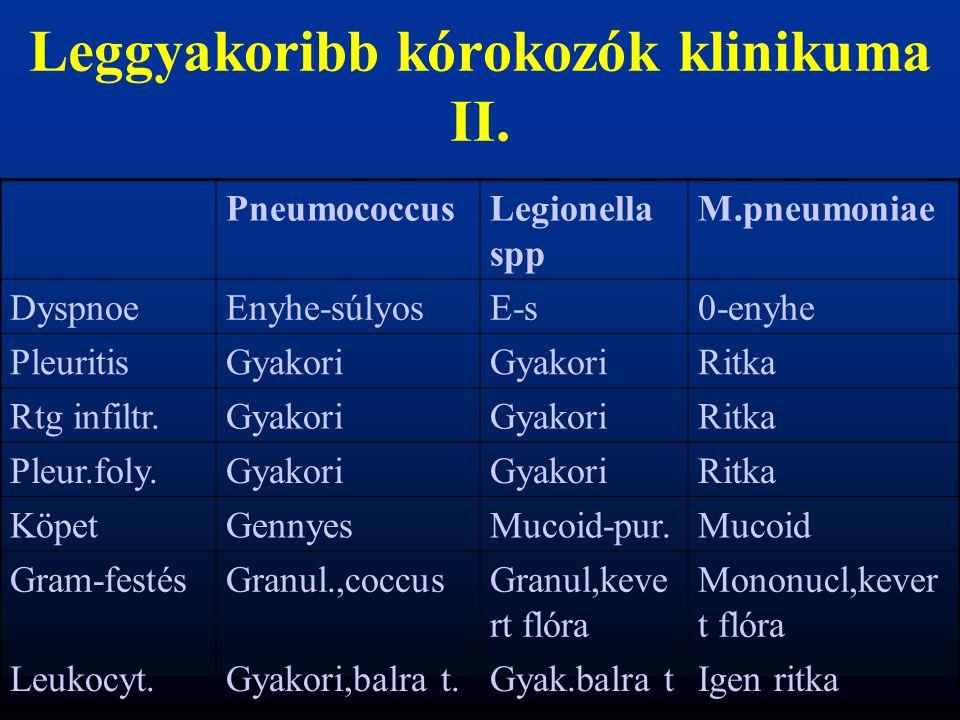 Leggyakoribb kórokozók klinikuma II. PneumococcusLegionella spp M.pneumoniae DyspnoeEnyhe-súlyosE-s0-enyhe PleuritisGyakori Ritka Rtg infiltr.Gyakori