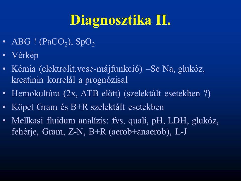 Diagnosztika II. ABG ! (PaCO 2 ), SpO 2 Vérkép Kémia (elektrolit,vese-májfunkció) –Se Na, glukóz, kreatinin korrelál a prognózisal Hemokultúra (2x, AT