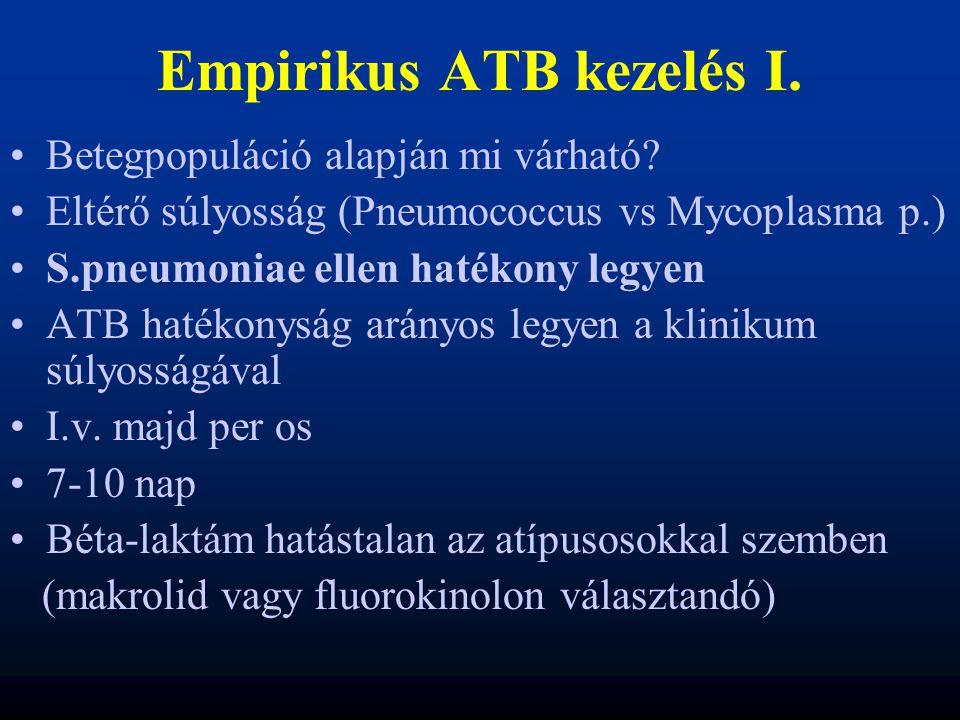 Empirikus ATB kezelés I. Betegpopuláció alapján mi várható? Eltérő súlyosság (Pneumococcus vs Mycoplasma p.) S.pneumoniae ellen hatékony legyen ATB ha