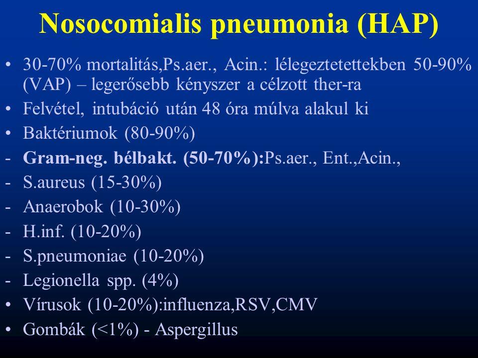 Nosocomialis pneumonia (HAP) 30-70% mortalitás,Ps.aer., Acin.: lélegeztetettekben 50-90% (VAP) – legerősebb kényszer a célzott ther-ra Felvétel, intub