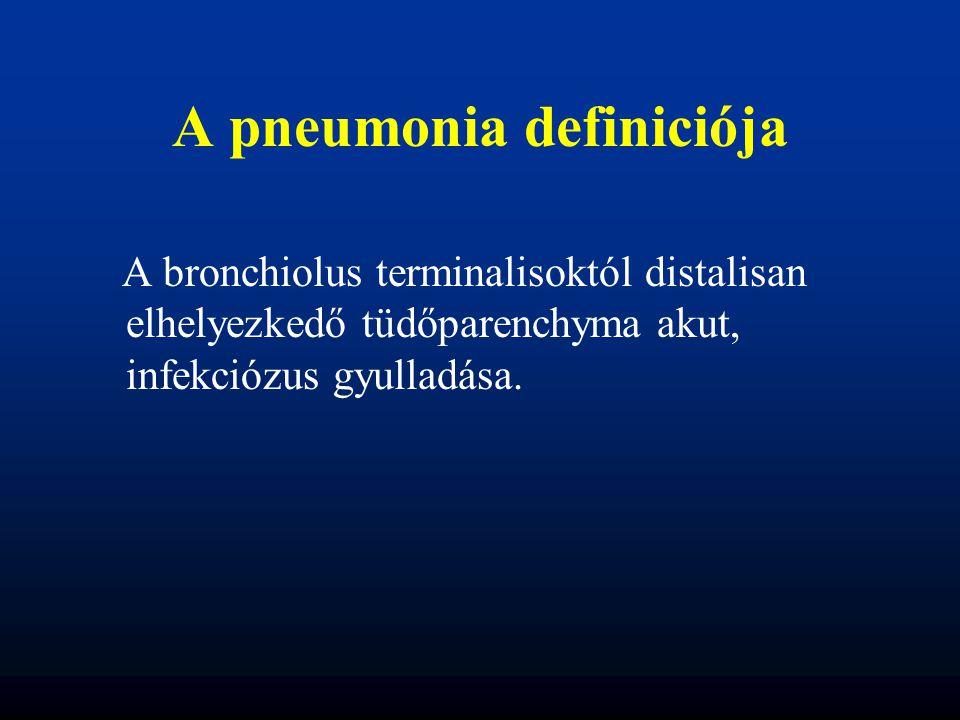 A pneumonia definiciója A bronchiolus terminalisoktól distalisan elhelyezkedő tüdőparenchyma akut, infekciózus gyulladása.