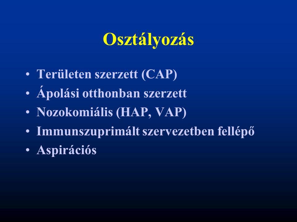 Osztályozás Területen szerzett (CAP) Ápolási otthonban szerzett Nozokomiális (HAP, VAP) Immunszuprimált szervezetben fellépő Aspirációs