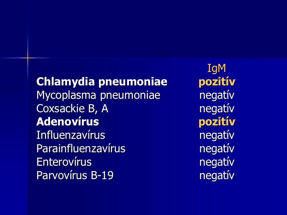 IgM Chlamydia pneumoniaepozitív Mycoplasma pneumoniaenegatív Coxsackie B, Anegatív Adenovíruspozitív Influenzavírusnegatív Parainfluenzavírusnegatív Enterovírusnegatív Parvovírus B-19negatív