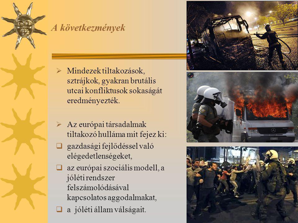 A következmények  Mindezek tiltakozások, sztrájkok, gyakran brutális utcai konfliktusok sokaságát eredményezték.  Az európai társadalmak tiltakozó h