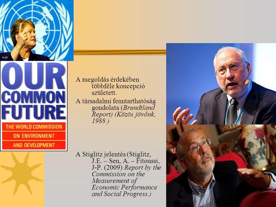 A megoldás érdekében többféle koncepció született. A társadalmi fenntarthatóság gondolata (Brundtland Report) (Közös jövőnk, 1988 ) A Stiglitz jelenté