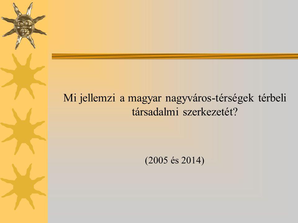 Mi jellemzi a magyar nagyváros-térségek térbeli társadalmi szerkezetét? (2005 és 2014)