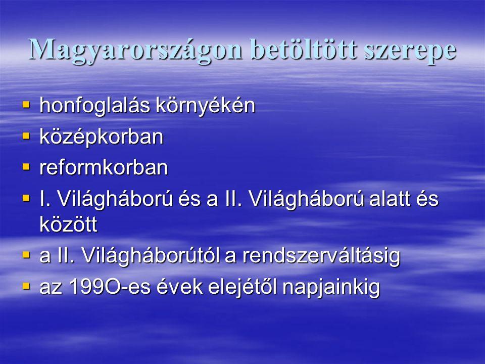 Magyarországon betöltött szerepe  honfoglalás környékén  középkorban  reformkorban  I. Világháború és a II. Világháború alatt és között  a II. Vi