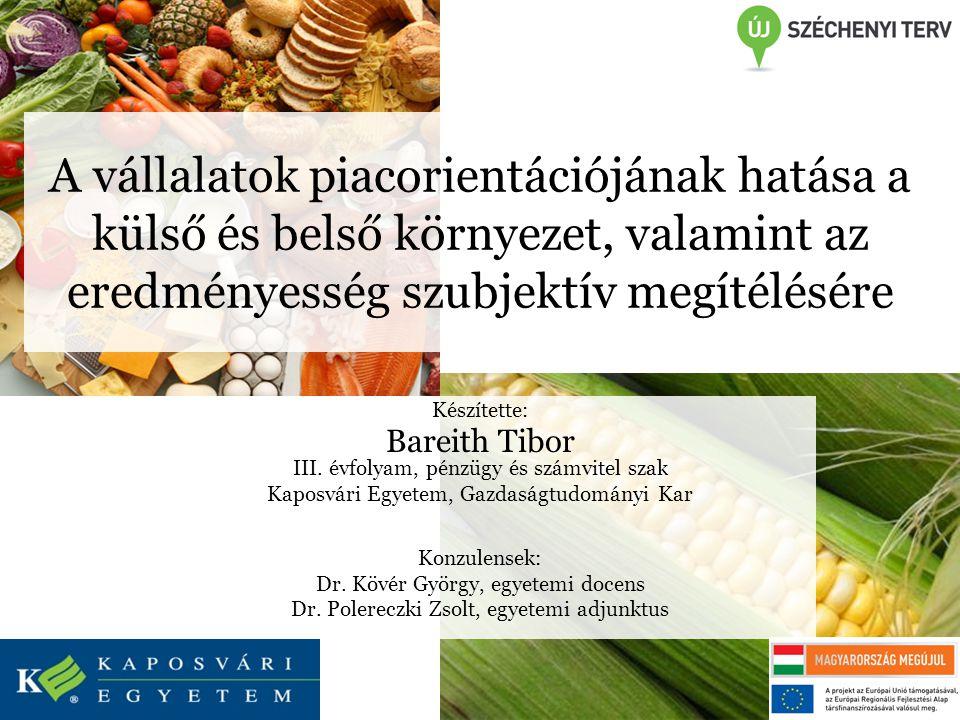 A vállalatok piacorientációjának hatása a külső és belső környezet, valamint az eredményesség szubjektív megítélésére Készítette: Bareith Tibor III.