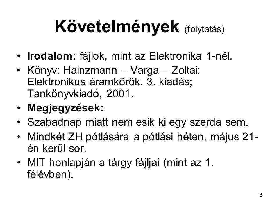 3 Követelmények (folytatás) Irodalom: fájlok, mint az Elektronika 1-nél. Könyv: Hainzmann – Varga – Zoltai: Elektronikus áramkörök. 3. kiadás; Tanköny