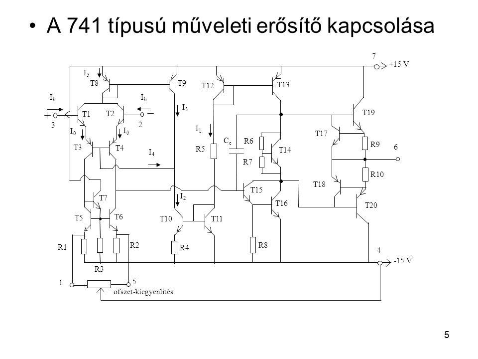 5 A 741 típusú műveleti erősítő kapcsolása