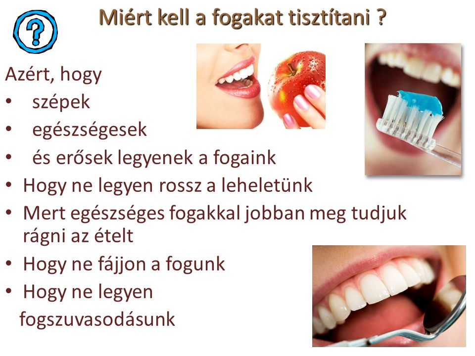 Miért kell a fogakat tisztítani ? Azért, hogy szépek egészségesek és erősek legyenek a fogaink Hogy ne legyen rossz a leheletünk Mert egészséges fogak