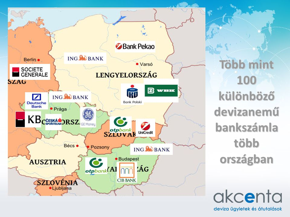 Több mint 100 különböző devizanemű bankszámla több országban