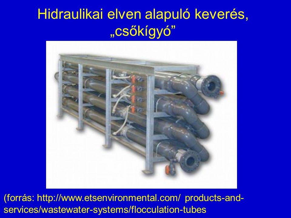 "Hidraulikai elven alapuló keverés, ""csőkígyó"" (forrás: http://www.etsenvironmental.com/ products-and- services/wastewater-systems/flocculation-tubes"