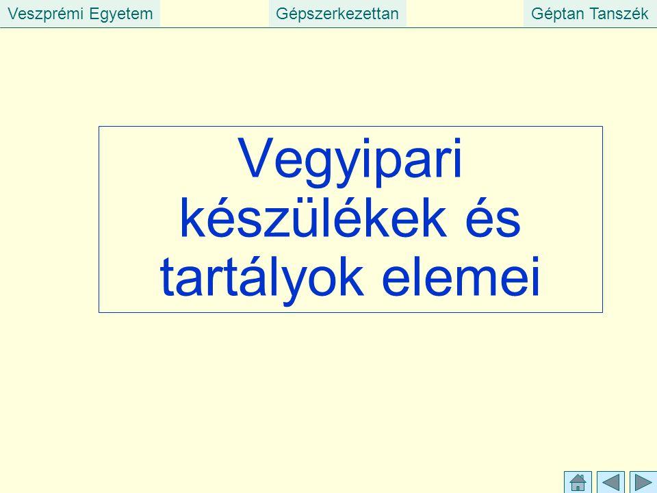 Veszprémi EgyetemGépszerkezettanGéptan Tanszék Vegyipari készülékek és tartályok elemei