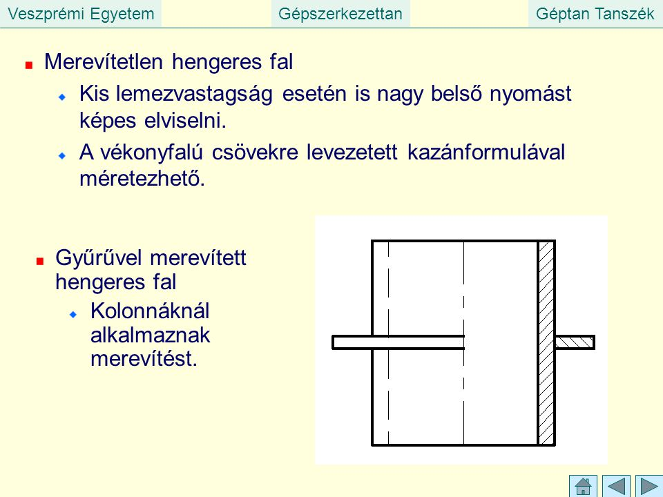 Veszprémi EgyetemGépszerkezettanGéptan Tanszék Merevítetlen hengeres fal Kis lemezvastagság esetén is nagy belső nyomást képes elviselni.